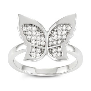 Journee Collection Sterling Silver CZ Micro-pave Butterfly Ring