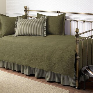 Trellis Aloe 5-piece Cotton Daybed Set with Intricate Stitching Detail (As Is Item)