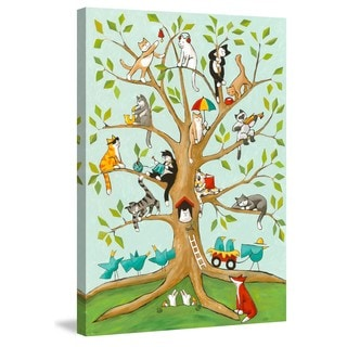 Marmont Hill - 'Cats up a Tree' by Janet Nelson Painting Print on Wrapped Canvas