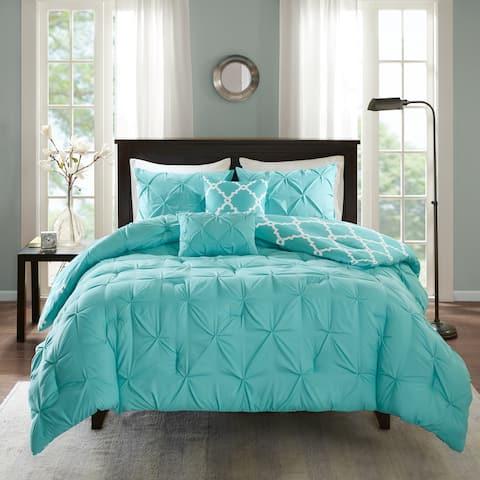 Madison Park Essentials Devin Aqua 5 Piece Reversible Comforter Set