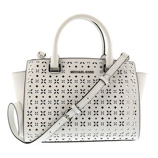 Michael Kors Selma Medium White Perforated Top Zip Satchel Handbag