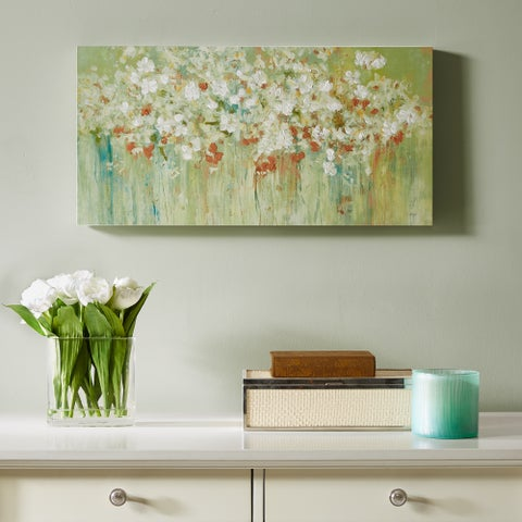 Madison Park Spring Fields Green Cross Brush Gel Coat and Hand Embellished Canvas
