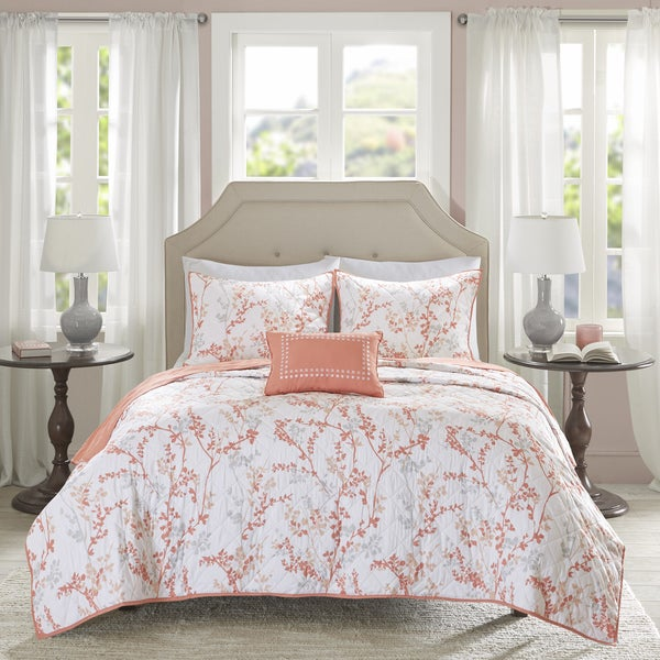 Shop Madison Park Essentials Lesley Coral 4 Piece Coverlet Set Free Shipping Today Overstock