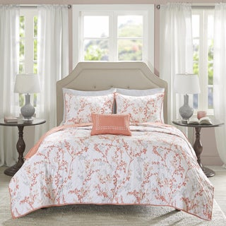 Madison Park Essentials Lesley Coral 4 Piece Coverlet Set