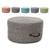 Polypropylene 11-inch High x 20-inch Deep Vibrant Houndstooth Textured Handled Pouf Ottoman