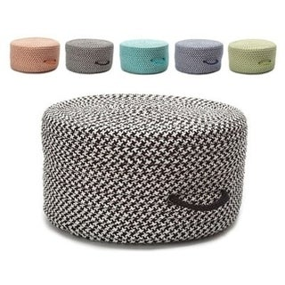 Vibrant Houndstooth Extra Firm Textured Pouf Ottoman