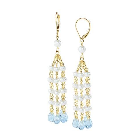 14k Yellow Gold White Pearl Blue Topaz 7-drop Leverback Earrings