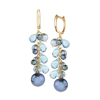 14k Yellow Gold Blue Topaz and Freshwater Pearl Drop Earrings