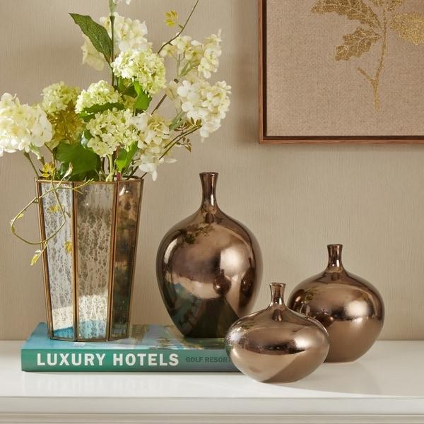 Madison Park Signature Ansen Metallic Bronze 3 Piece Vase Set