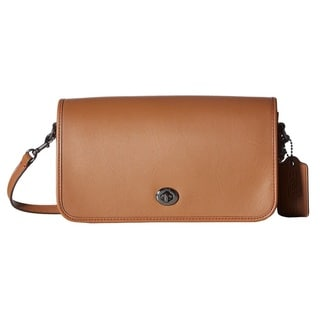Coach Leather Silver/Saddle Turnlock Crossbody