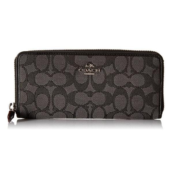3a7104b696d0a Coach Signature Slim Accordion Silver Black Smoke Black Zip Checkbook Wallet