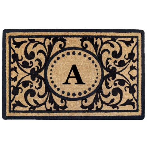 Black Heavy-duty Coir Monogrammed Heritage Doormat - 22 inches x 36 inches