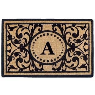 Black Heavy-duty Coir Monogrammed Heritage Doormat