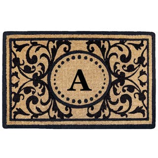 Black Heavy-duty Coir Monogrammed Heritage Doormat|https://ak1.ostkcdn.com/images/products/13749352/P20405851.jpg?impolicy=medium