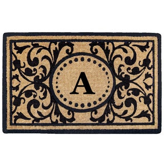Black Heavy-duty Coir Monogrammed Heritage Doormat (More options available)