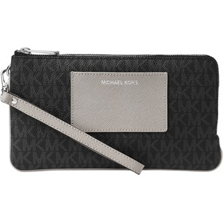 Michael Kors Large Double Zip Black/Grey Wristlet with Pocket