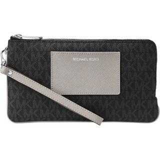 Michael Kors Large Double Zip Black/Grey Wristlet with Pocket