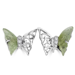 14k White Gold 2ct TGW Tourmaline and Diamond Accent Butterfly Earrings