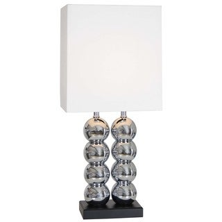 Two's World Silver/White Chrome-finished Modern Table Lamp