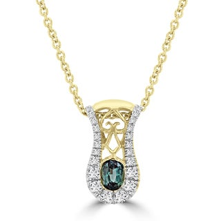 La Vita Vital 14k Yellow Gold Oval-cut Alexandrite 0.3ct and Diamond 1/10ct TDW Pendant