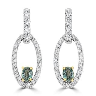 La Vita Vital 18k Two-Tone Gold 1/3ct TGW Oval-cut Alexandrite and 1/2ct TDW Diamond Earrings (G-H, SI1-SI2)