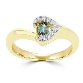 La Vita Vital 18k Yellow Gold 1/4ct TGW Color-changing Alexandrite and Diamond Accent Ring (G-H, SI1-SI2)