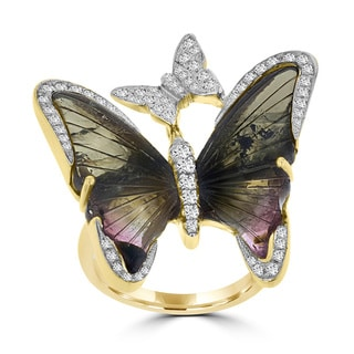 14k Yellow Gold 12 5/8ct TGW Tourmaline and 1/2ct TDW Diamond Butterfly Ring (G-H, SI1-SI2)