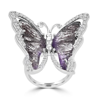 Sterling Silver 10 1/3ct TGW Quartz and 5/8ct TDW Diamond Butterfly Ring (G-H, SI1-SI2)
