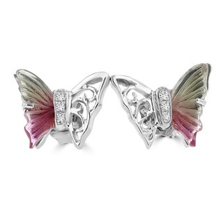 14k White Gold 2ct TGW Tourmaline and Diamond Accent Butterfly Earrings (G-H, SI1-SI2)