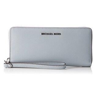 Michael Kors Jet Set Travel Dusty Blue Leather Continental Wallet