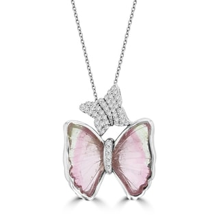 14k White Gold 4 7/8ct TGW Tourmaline and 1/5ct TDW Diamond Butterly Necklace (G-H, SI1-SI2)