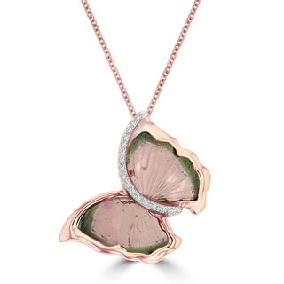 14k Rose Gold 3 1/4ct TGW Tourmaline and Diamond Accent Butterfly Necklace (G-H, SI1-SI2)