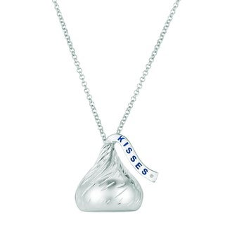 Sterling Silver 3D Hershey Kiss Pendant with Diamond Plume (25 mm)