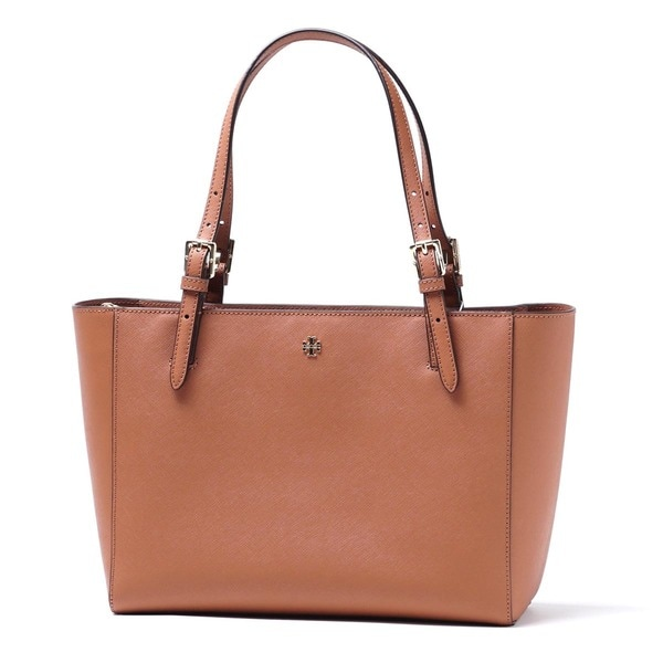 c05e2826d076 Shop Tory Burch York Brown Leather Small Luggage Buckle Tote - Free ...