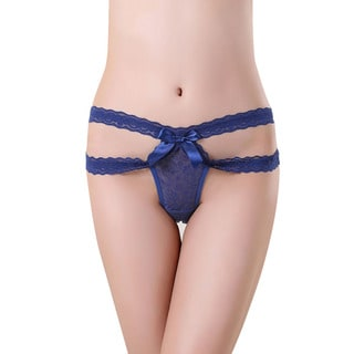 Royal Blue Polyester and Spandex Strappy Lace Cutout Full-back Panties