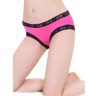 Women's Pink and Black Polyester-blend Lace-trimmed Bare-back Panties
