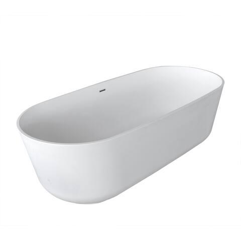 Anzzi Sabbia 5.9-foot Man-made Stone Center Drain Freestanding Bathtub in Matte White