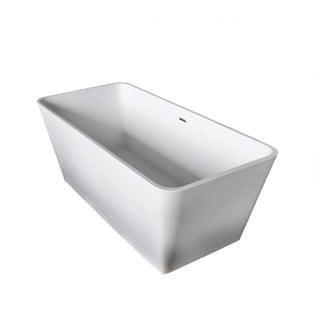 Anzzi Cenere 4.9-foot Man-made Stone Center Drain Freestanding Bathtub in Matte White