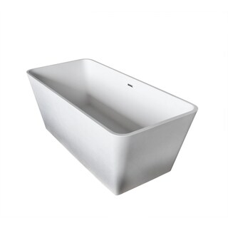 Anzzi Cenere 4.9-foot Man-made Stone Center Drain Freestanding Bathtub in Matte White