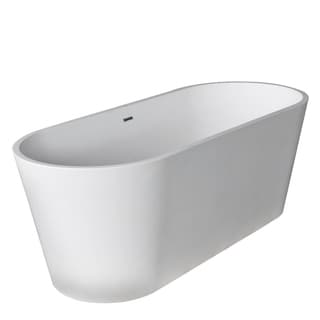 Anzzi Rossetto 5.6-foot Man-made Stone Center Drain Freestanding Bathtub in Matte White