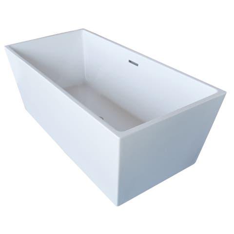 ANZZI Fjord 5.6 ft. Acrylic Center Drain Freestanding Bathtub in Glossy White