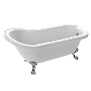 Anzzi Pegasus Series 5.5-foot Acrylic Clawfoot Soaking Bathtub in White