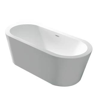 Anzzi Ares 5.5-foot Center Drain Freestanding Bathtub in Glossy White
