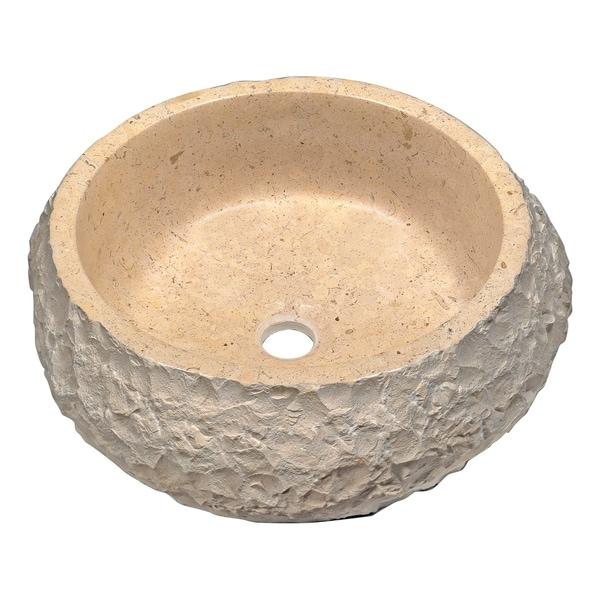 Anzzi Desert Ash Vessel Sink in Classic Cream Marble