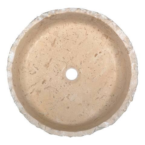 Anzzi Desert Crown Vessel Sink in Classic Cream Marble