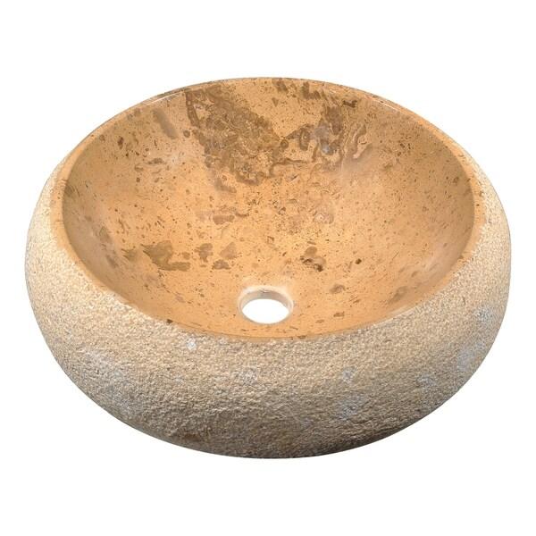 Anzzi Leopards Ash Vessel Sink in Classic Cream Marble