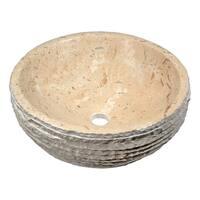 Anzzi Desert Basin Vessel Sink in Classic Cream Marble