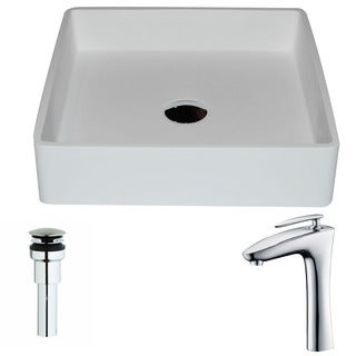 Anzzi Passage Series 1-piece Man Made Stone Vessel Sink in Matte White with Crown Faucet in Polished Chrome