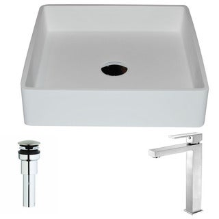 Anzzi Passage Series 1-piece Man Made Stone Vessel Sink in Matte White with Enti Faucet in Brushed Nickel