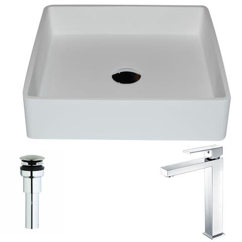 Anzzi Passage Series 1-piece Man Made Stone Vessel Sink in Matte White with Enti Faucet in Polished Chrome